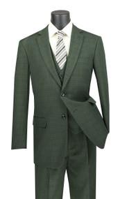 Vinci 2-Button Olive Glenplaid with Vest Suit - Single Pleat Slacks