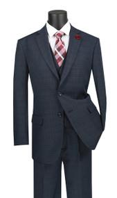 Vinci 2-Button Blue Glenplaid with Vest Suit - Single Pleat Slacks