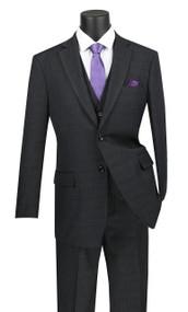 Vinci 2-Button Black Glenplaid with Vest Suit - Single Pleat Slacks