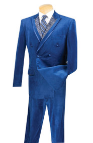 Vinci Blue Velvet Fancy Paisley Double-breasted Suit - Single Pleat Slacks