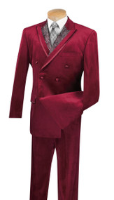 Vinci Burgundy Velvet Fancy Paisley Double-breasted Suit - Single Pleat Slacks