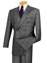 Vinci Grey Glenplaid Double-Breasted Suit with Pleated Slacks