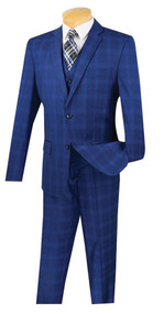 Vinci 2-Button Blue Glenplaid Suit with Vest - Slim Fit