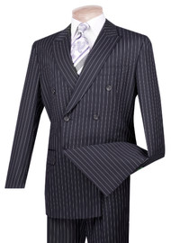 Vinci Blue Bold Pinstripe Double-Breasted Suit with Pleated Slacks