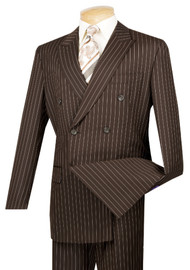 Vinci Brown Bold Pinstripe Double-Breasted Suit with Pleated Slacks