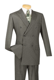 Vinci Charcoal Bold Pinstripe Double-Breasted Suit with Pleated Slacks