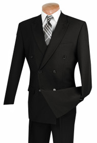 Lucci Black Double-Breasted Suit with Pleated Slacks
