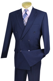 Lucci Navy Double-Breasted Suit with Pleated Slacks