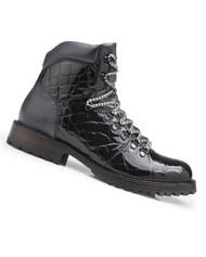 Belvedere Genuine Alligator Lace Up Boots - Black