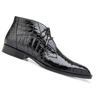 Belvedere Genuine Alligator Lace Half Boots - Black