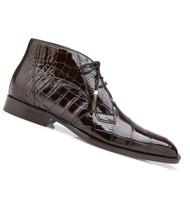 Belvedere Genuine Alligator Lace Half Boots - Chocolate