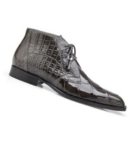 Belvedere Genuine Alligator Lace Half Boots - Grey