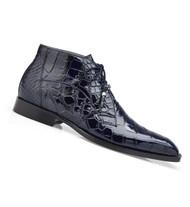 Belvedere Genuine Alligator Lace Half Boots - Navy