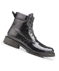 Belvedere Genuine Alligator and Calf Leather Lace Up Boots - Black