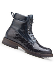 Belvedere Genuine Alligator and Calf Leather Lace Up Boots - Navy