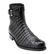 Belvedere Quilted Calf Leather  with Genuine Alligator Men's Boots - Black