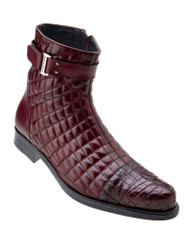 Belvedere Quilted Calf Leather  with Genuine Alligator Men's Boots - Antique Wine