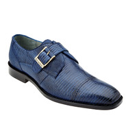 Belvedere Genuine 100% Lizard Monk Strap Dress Shoe - Antique Navy