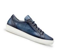 Belvedere Genuine Ostrich & Calf Low Profile Sneaker - Blue