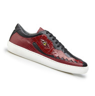 Belvedere Genuine Crocodile and Lizard Sneaker - Red and Black