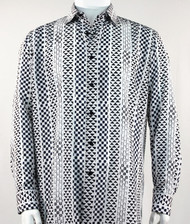 Bassiri Black  & White Tribal Design Long Sleeve Camp Shirt