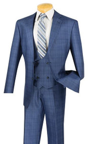 Vinci 2-Button Glenplaid with Low Cut Vest Suit - Blue