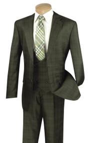Vinci 2-Button Glenplaid with Low Cut Vest Suit - Olive