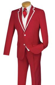Vinci 2-Button Red Fancy Pinstripe Suit with Vest Suit - Slim Fit