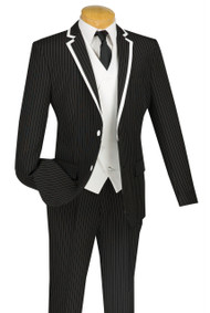 Vinci 2-Button Black Fancy Pinstripe Suit with Vest Suit - Slim Fit