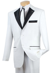 Lucci White with Black Contrasting Notched Collar Tuxedo - Pleated Slacks