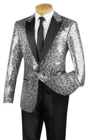 Pallini Silver Animal Print Sequin Formal Sportcoat