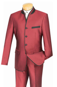 Vinci Burgundy Banded Collar Two-Tone Fashion Suit - Slim Fit