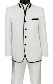 Vinci White Banded Collar Two-Tone Fashion Suit - Slim Fit