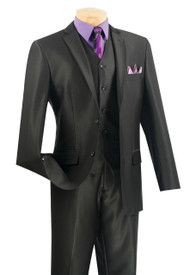 Vinci 2-Button Black Sheen Suit with Vest - Slim Fit