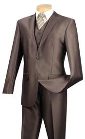 Vinci 2-Button Mocha Sheen Suit with Vest - Slim Fit