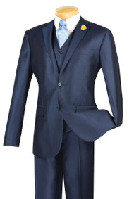 Vinci 2-Button Blue Sheened Suit with Vest - Slim Fit