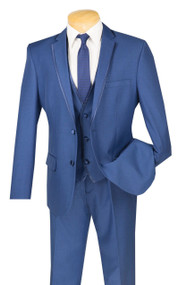 Vinci 2-Button Trimmed Blue Suit with Vest - Slim Fit