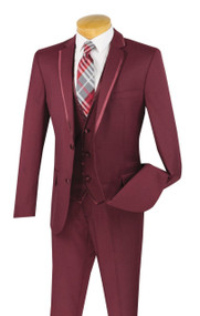 Vinci 2-Button Trimmed Burgundy Suit with Vest - Slim Fit