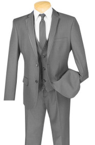 Vinci 2-Button Trimmed Grey Suit with Vest - Slim Fit