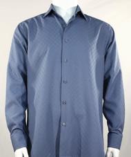 Bassiri Diamond Weave Sleeve Camp Shirt - Blue