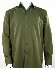 Bassiri Diamond Weave Sleeve Camp Shirt - Olive