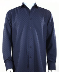 Bassiri Diamond Weave Sleeve Camp Shirt - Dark Blue