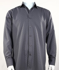 Bassiri Diamond Weave Sleeve Camp Shirt - Dark Grey