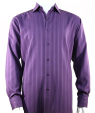 Bassiri Purple Multi-Stripe Long Sleeve Camp Shirt