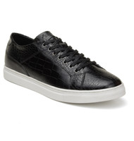Belvedere Croc Embossed Calf Leather Sneaker - Black