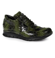 Mauri Genuine Multi-Green Crocodile Sneakers with Black Tread Sole