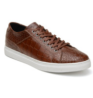 Belvedere Croc Embossed Calf Leather Sneaker - Cognac