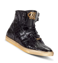 Mauri Genuine Crocodile High Top Sneakers- Black