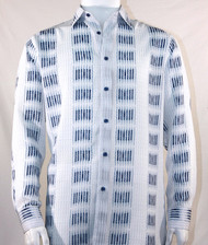 Bassiri Blue Muted Block Long Sleeve Camp Shirt