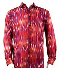 Bassiri Red Abstract Swirl Design Long Sleeve Camp Shirt